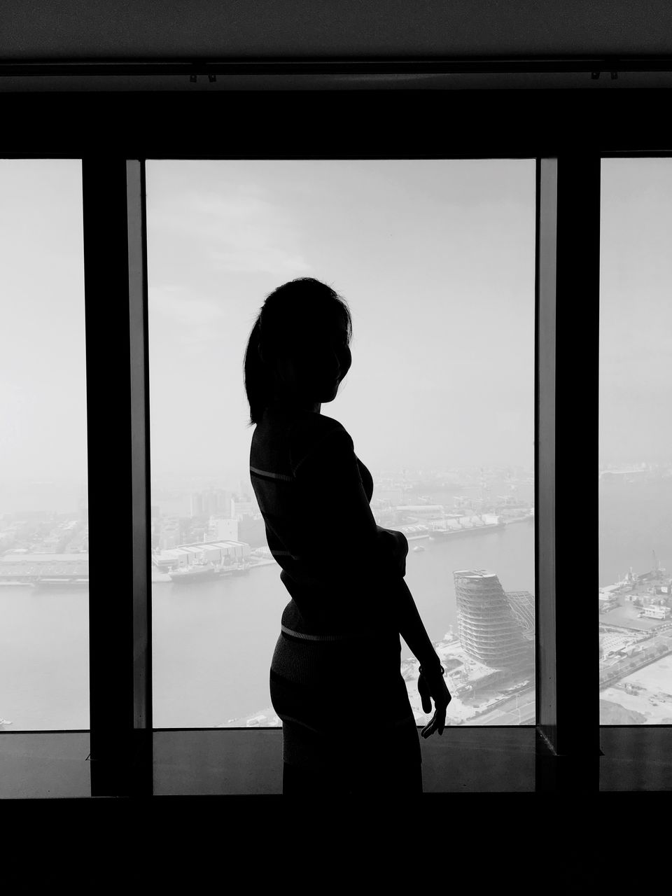 window, glass - material, transparent, real people, lifestyles, one person, indoors, standing, looking through window, looking, leisure activity, side view, women, sky, day, three quarter length, silhouette, child, glass, looking at view