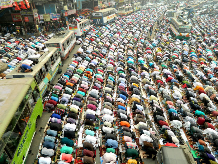 High Angle View Of Crowd Praying On Street During Bishwa Ijtema
