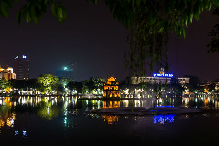 Turtle Tower in Hanoi Tháp Rùa Architecture Building Building Exterior Built Structure City Illuminated Nature Night No People Outdoors Plant Reflection River Sky Travel Destinations Tree Turtletower Water Waterfront