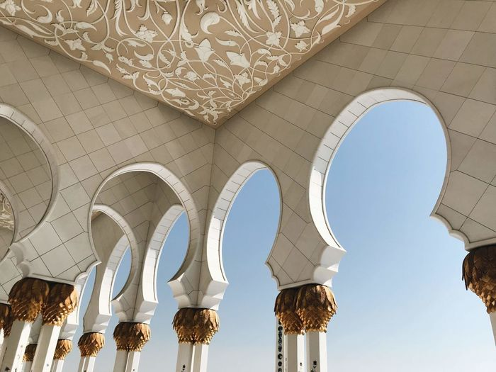 Arch Architectural Column Architecture Building Built Structure Ceiling Day History Indoors  Low Angle View No People Pattern Place Of Worship Sunlight The Past Travel Travel Destinations White Color