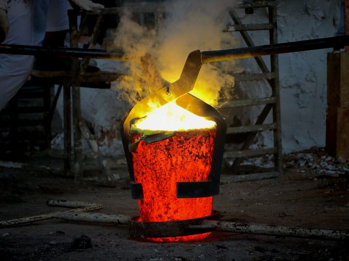 Brass Industry Indoors  Heat - Temperature Factory Metal Industry Burning Foundry Workshop Flame