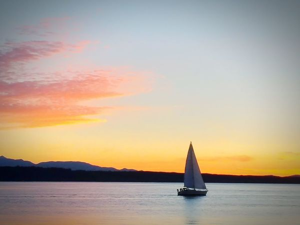 Tranquility Calm Clouds And Sky Clouds Sunset Ocean Sillhouette Sailboat Sailboat In Sunset