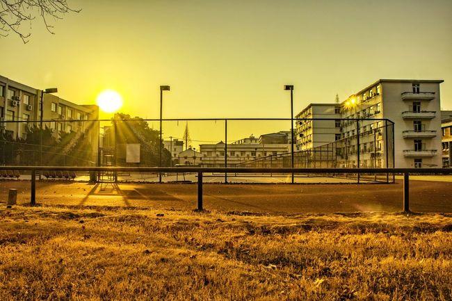 运动场 夕阳 Playground Sun Sunlight Sky Sunset Sport Childhood Net - Sports Equipment No People Outdoors Soccer Nature Playing Field Day