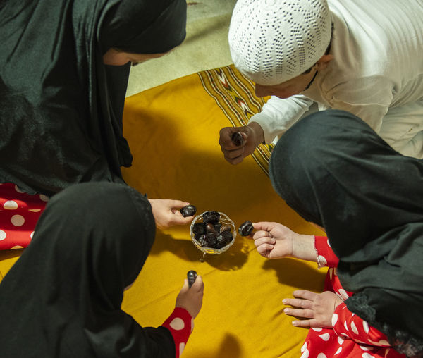 High angle view of people playing