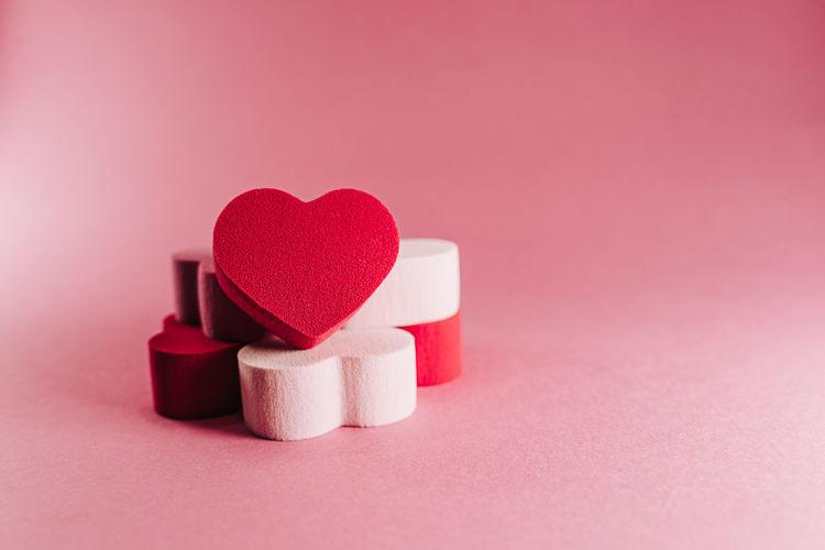 Close-up of heart shape on pink box
