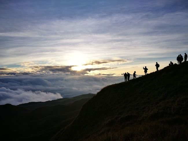 Travel, explore and enjoy every bit of God's magnificent craft. Silhouette Mountains People Hiking Trekking Nature Photography Nature Travel Adventure Beauty In Nature Friends FriendshipGoal Cloudscapes Clouds Cloudporn Sunrise Photography Photography101 Connected By Travel
