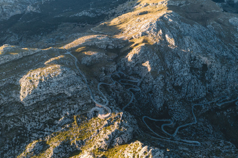 Crazy roads in Mallorca Rock No People Nature Rock - Object Beauty In Nature Land High Angle View Outdoors Mountain Rock Formation Landscape Non-urban Scene Formation Roads Roadside Mountain Range Mountain View Sunrise Contrast Day Tranquility