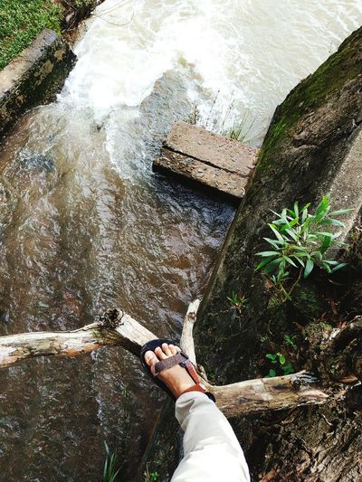 Low section of person standing on rock against waterfall in forest