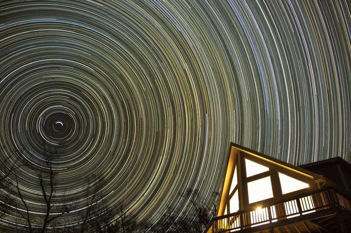 Stars Long Exposure Nightphotography Front Royal Virginia Blue Ridge Mountains Spining Pinwheel