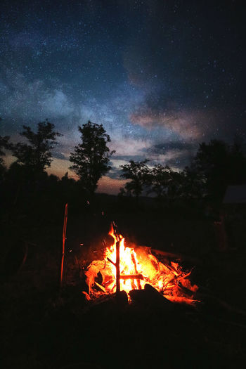 View of fire in sky at night