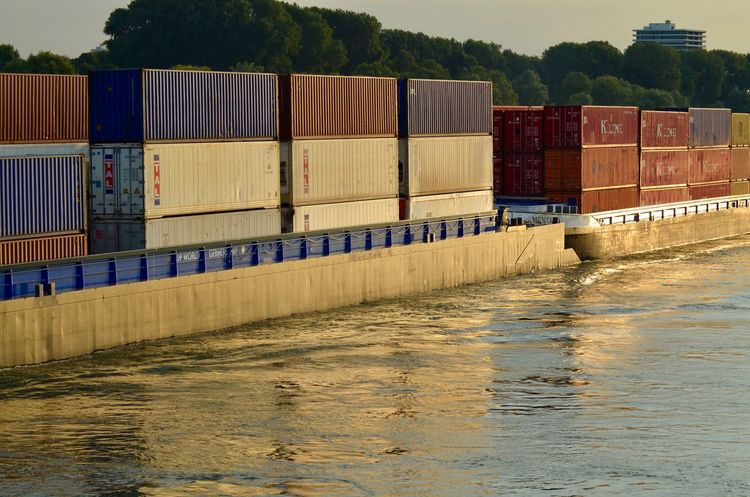 Barge Business Finance And Industry Cargo Container Containership Day Inland Vessel Nature Nautical Vessel No People Outdoors Rhine Shipping  Sunset Transportation Water