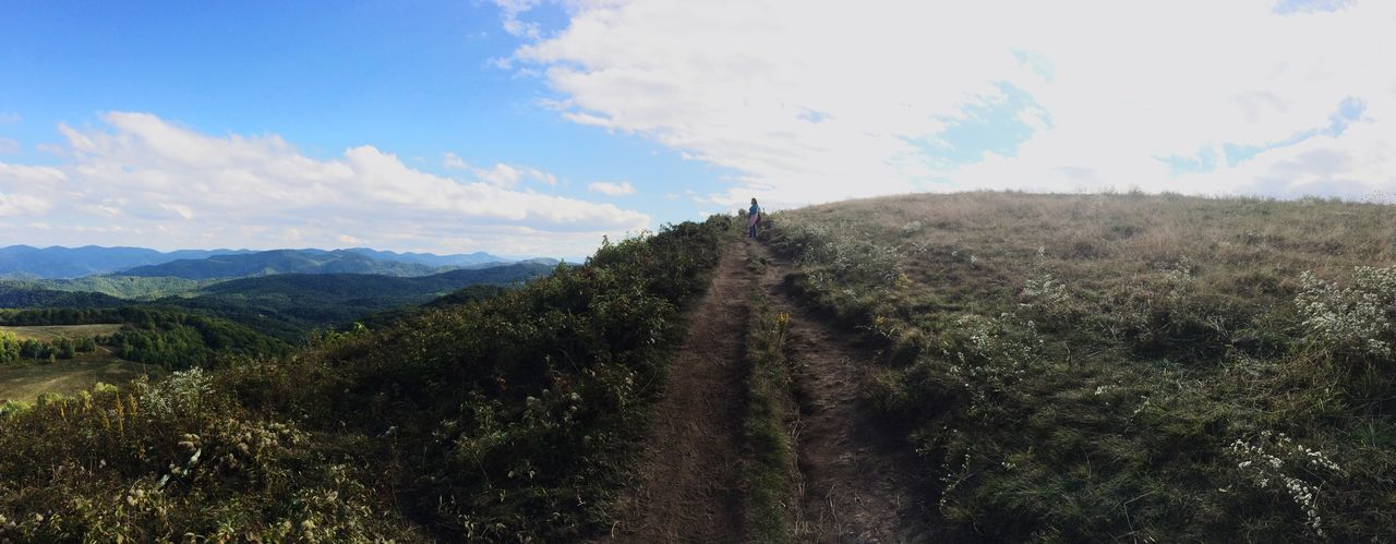 Great day for Asheville hiking! Sky Landscape Tranquil Scene Tranquility Mountain Scenics Nature Plant Non-urban Scene Cloud Cloud - Sky The Way Forward Beauty In Nature Growth Solitude Day Remote Outdoors Green Color Blue Path Hiking The Way Foward