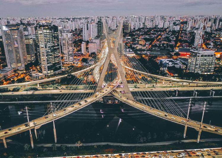 Aerial view of bridge in city