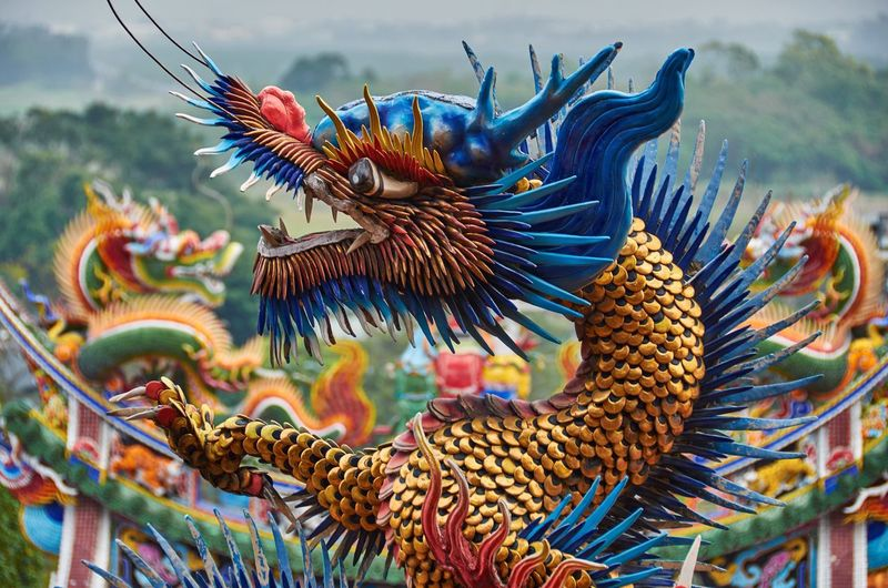 Colorful dragon statue at temple