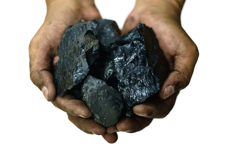 Anthracite Coal Dirty Fuel And Power Generation Heat Holding Human Body Part Human Hand Mine Mining One Person Power Raw Materials Solid Underground White Background Working