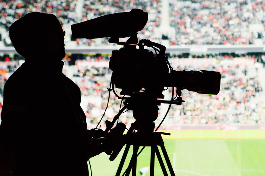 Camera Camera Operator CameraMan Filming One Person Silhouette Sport Event Stadium