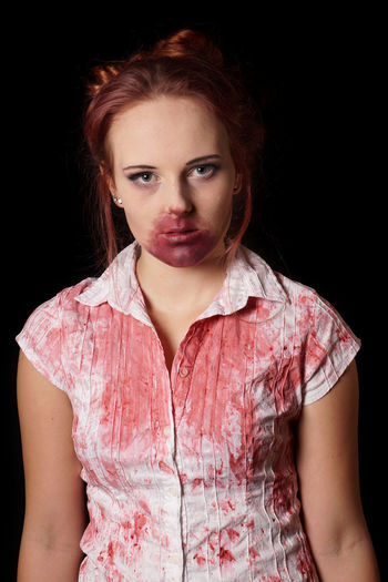 halloween costume BLOODY Cosplay Halloween Horror Zombie Adult Black Background Blood Costume Looking At Camera People Portrait Real People Redhead Studio Shot Vampire Young Adult Young Women