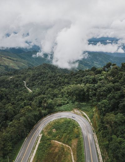Aerial View Of Winding Road Against Sky