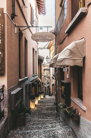 Narrow alley amidst residential buildings