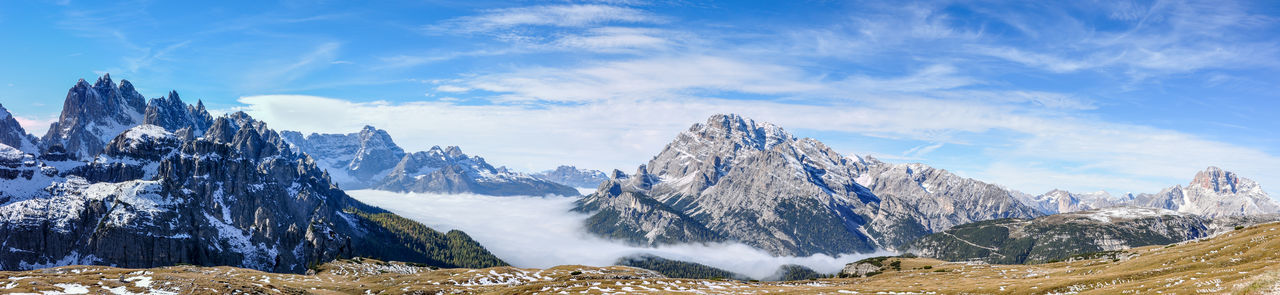 Alto Adige Beauty In Nature Blue Cold Temperature Covering Day Dolomites, Italy Geology Idyllic Landscape Majestic Mountain Mountain Range Nature Non-urban Scene Panoramic Photography Physical Geography Scenics Season  Sky Snowcapped Mountain Südtirol Tranquil Scene Tranquility Weather