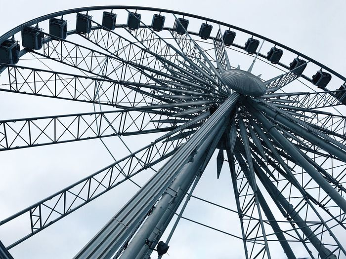Low Angle View Sky No People Big Wheel Arts Culture And Entertainment Day Outdoors Architecture Modern Metalic Metal City IPhone IPhoneography Aesthetics Poland Carousel Ferris Wheel Quality