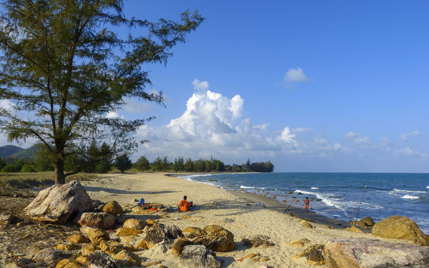 Thang Sai Beach Beach Beauty In Nature Cloud - Sky Day Horizon Over Water Leisure Activity Men Nature Outdoors People Real People Rock - Object Sand Scenics Sea Sky Tranquility Tree Vacations Water