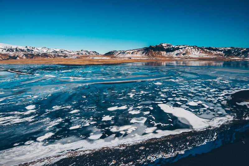 Ice and snow Ice Mavic Air Beauty In Nature Blue Blue Sky Clear Sky Cold Temperature Day Mountain Mountains Nature No People Non-urban Scene Outdoors Scenics - Nature Sky Snow Snowcapped Mountain Tranquil Scene Tranquility Water Winter