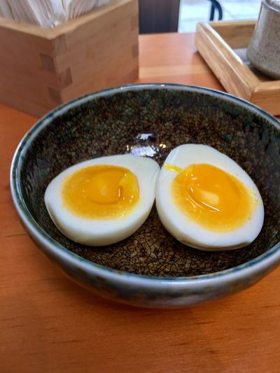 Food And Drink Food Egg Yolk Healthy Eating Indoors  Freshness Diet Ceramics Protein Ramen Japanese Food Soft Boiled Egg Egg Reataurant Bowl Boiled Egg Ready-to-eat No People Close-up Day