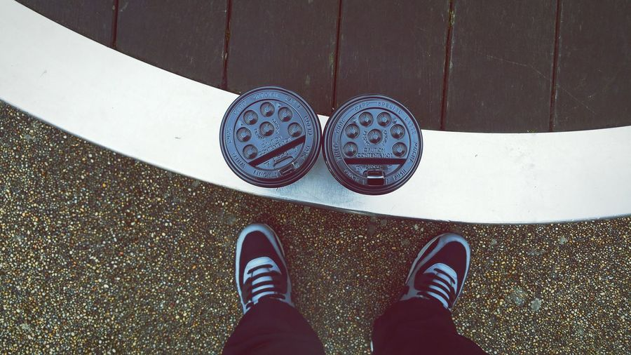Coffees Cups Looking Down Different Perspective My Feet Airmax Ground
