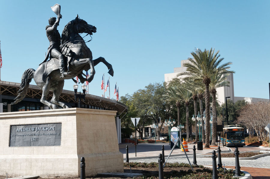 Andrew Jackson Art Blue City Clear Sky Day Information Sign Jacksonville JacksonvilleFL No People Outdoors Pole Road Road Sign Sculptures Scuplture Sky Statues Statues And Monuments Sunlight Tree