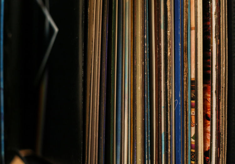 Close-Up Of Record Collection