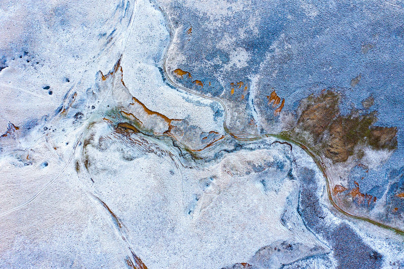 Aerial view of landscape during winter