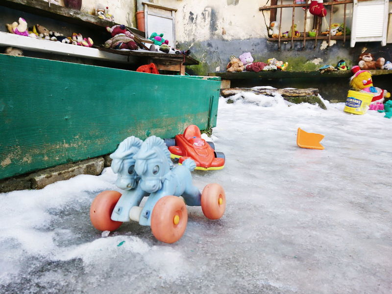 Day No People Outdoors Been There. Lviv, Ukraine Toys Spielzeug Verlassen Abandoned Winter Left