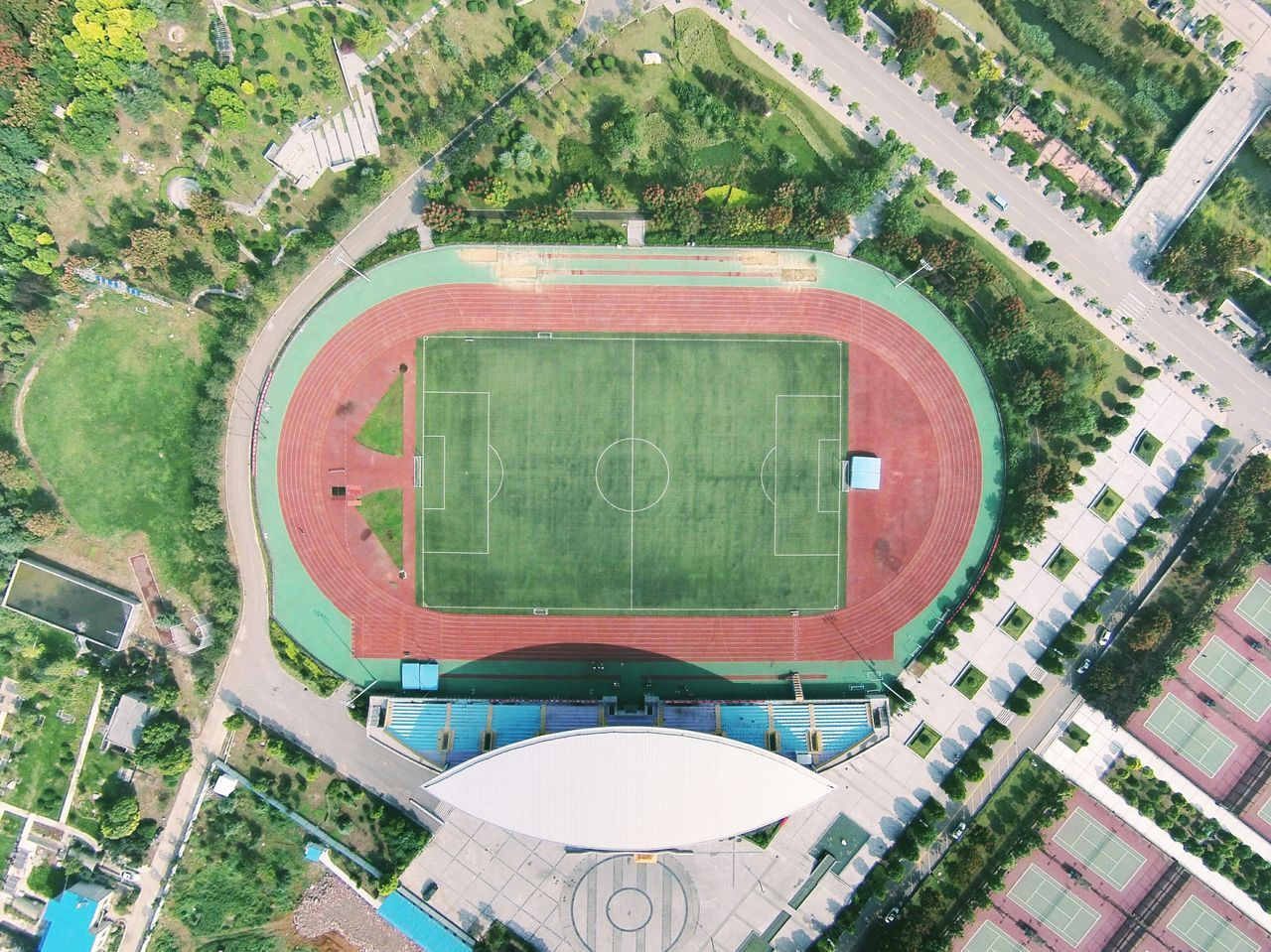 High angle view of stadium