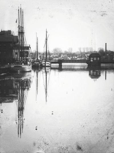 Leer (Ostfriesland) Water Reflection Nautical Vessel Transportation No People Sailboat Nature Harbor Ship Anny Von Hamburg Mode Of Transport Blackandwhite Outdoors