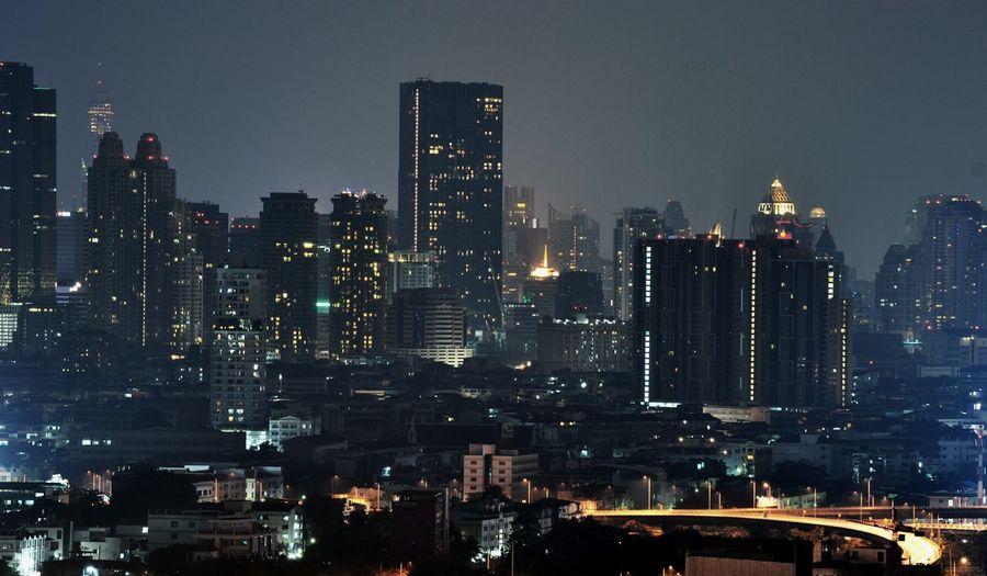 City illuminated at dusk