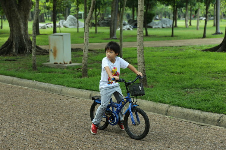 Full length of girl riding bicycle on grass
