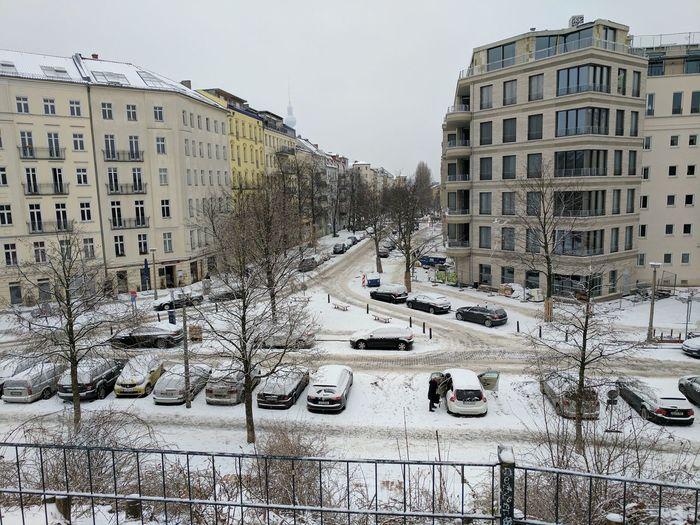 Apartment Berlin Cars City Cold Temperature Fernsehturm Outdoors Schnee Snow Wasserturm Weather Winter First Eyeem Photo