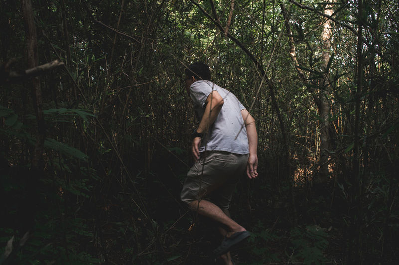 The Great Outdoors - 2018 EyeEm Awards The Still Life Photographer - 2018 EyeEm Awards Travel Activity Adventure Casual Clothing Day Forest Full Length Green Color Growth Land Leisure Activity Lifestyles Men Moody Nature One Person Outdoors Plant Real People Tree WoodLand