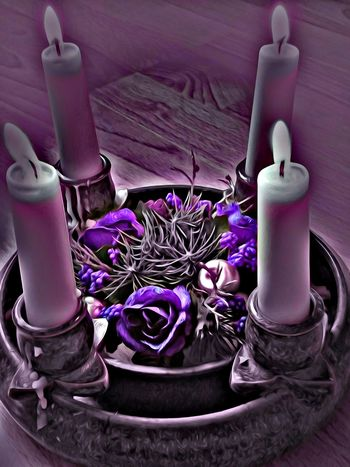 Candle Purple Indoors  No People Close-up Candles.❤ Candles Candle Light Candlelight Candle Flame Candleholder Candle Holder Candle Lighting  Candles-collection Candlelights Candleshoot Art, Drawing, Creativity