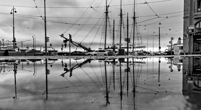 Nordic Light 2 Finland Helsinki Black And White Landscape Monochrome Moored Nautical Vessel No People Outdoors Reflection Reflections Ships Transportation Urban Landscape Water