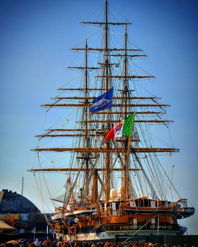 Amerigo Vespucci Bari Blue Cable Construction Day Development Italia Italy Low Angle View Marina Marina Militare Italiana Mast No People Outdoors Puglia SanNicola Sky Veliero