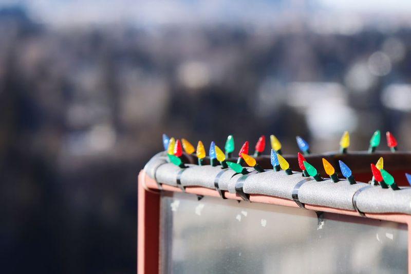 Christmas light on balcony