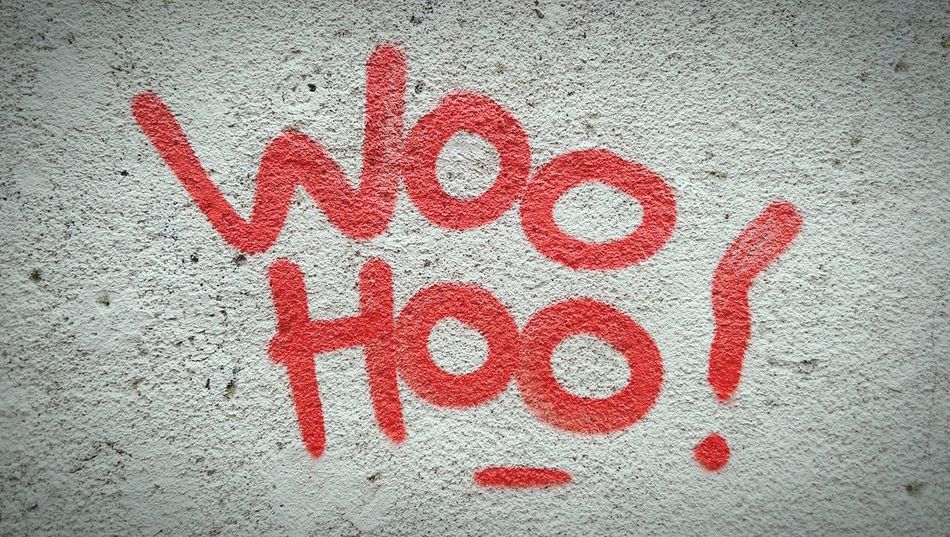 Woo Hoo! Wall Graffiti Tag Urban Words ShoutOut Paint Wording Quotes Quotation Red Written