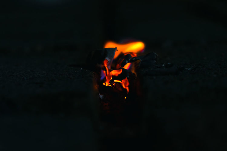 Close-up of fire in the dark