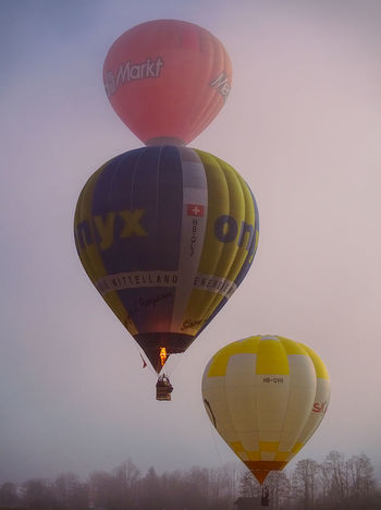 Unfortunately, it was very foggy this morning... Morning Light Tranquility Adventure Air Vehicle Balloon Ballooning Festival Celebration Day Flying Foggy Morning Hot Air Balloon Mid-air Multi Colored Nature Outdoors People Silence Sky Transportation EyeEmNewHere Go Higher