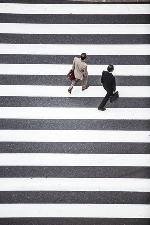 Stripes Zebra Crossing Striped Road Marking Two People Walking Zebra Adult City Life Adults Only City Street Full Length Outdoors People City Men Couple - Relationship Day Pedestrian Young Adult Only Men Tokyo Streetphotography