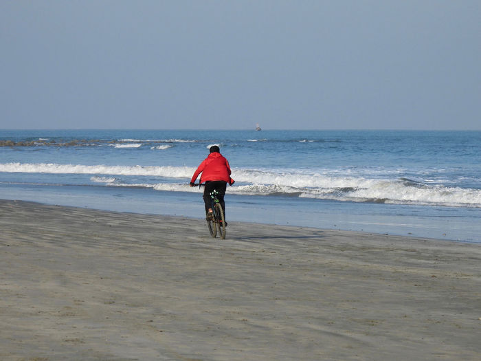 Rear view of man riding on beach against sky
