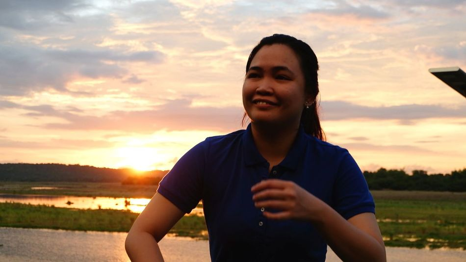 At her back is the sunset view from a hotel in Sarrat, Ilocos Norte Candid Scenic Asian  Relaxing The Portraitist - 2018 EyeEm Awards Young Women Sunset Women Rural Scene Beauty Sky Cloud - Sky Self Portrait Photography Pretty Thoughtful
