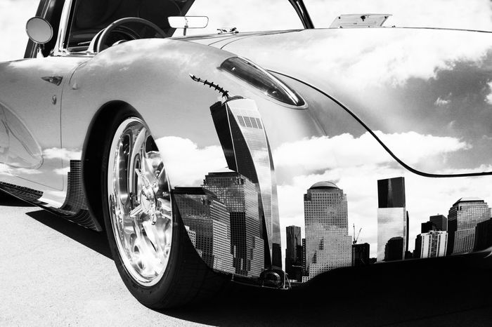 Car Transportation Mode Of Transport Outdoors Day No People Close-up Bnw_friday_eyeemchallenge Bnw_reflection Skyline Break The Mold Cut And Paste My Artwork
